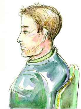 Courtroom sketch drawing of the suspect in court on Wed.