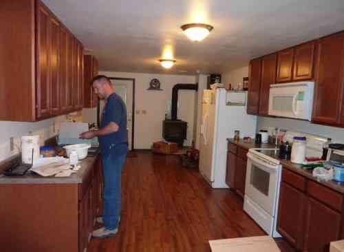 Harpham in his kitchen