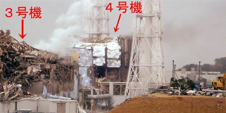 This picture, released from Tokyo Electric Power Co. on Wednesday, shows damaged No.3 and No. 4 reactors at the Dai-ichi nuclear plant in Fukushima