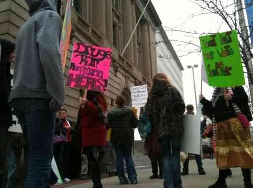 Photo of marijuana legalization supporters gathering in downtown Spokane on Thursday
