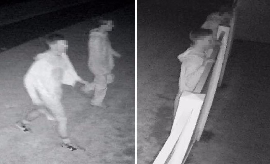 These two young men were caught on surveillance destroying a fence for no apparent  reason. We have chosen to  blur their faces because police have not officially identified them as suspects but they do say they are investigating the vandalism.