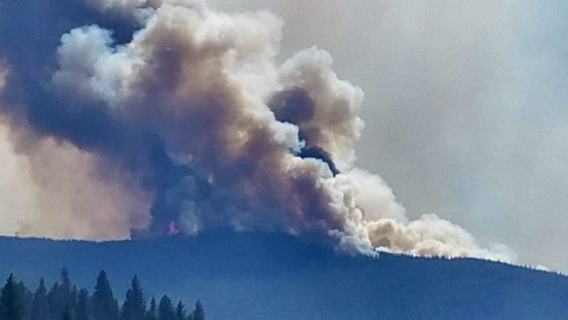 Smoke from the Lolo Peak fire on August 2, 2017