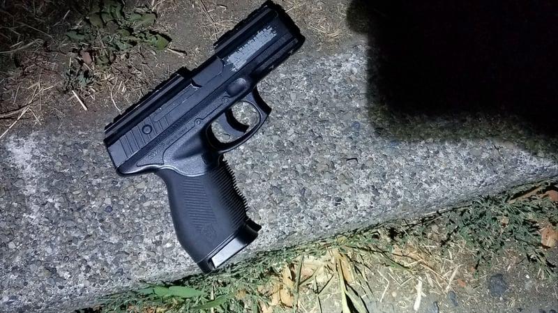 The realistic-looking replica gun found at the scene