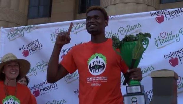 Man eats over 350 ounces of kale, defending title as kale-eating champion