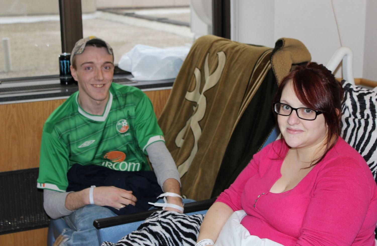 Courtney Stash and Justin Dwyer, photographed after the birth of their triplets on Christmas Day in 2014.
