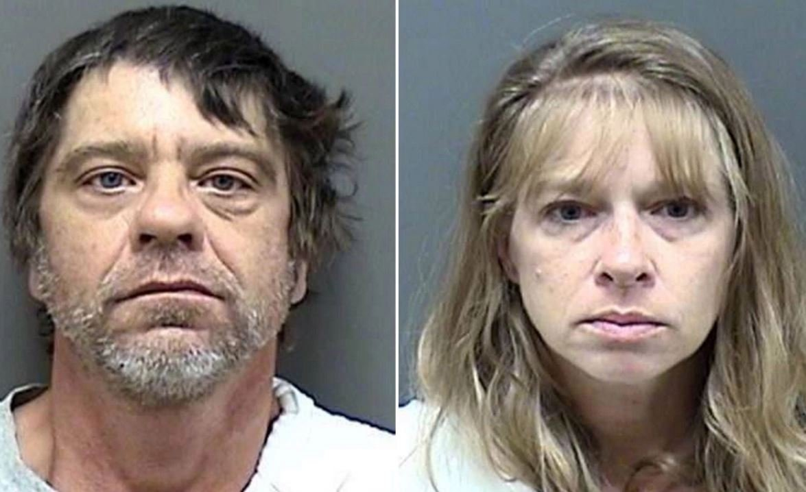Dale A. Deavers (left) and Gale D. Lalonde have been arrested for keeping a 9-year-old girl in a dog kennel at night and throughout the day — padlocking the door to prevent her from escaping.