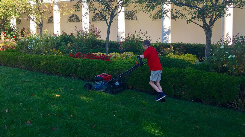 Trump Invites 11 Year Old Boy To Mow Rose Garden Lawn