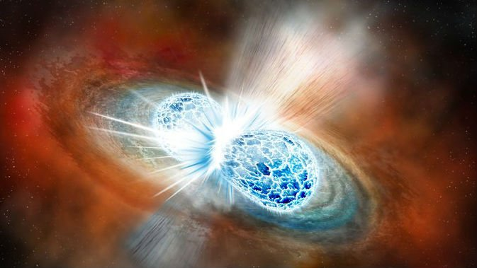An artist's rendering of the merger of two neutron stars from Aug. 17. Credit: Robin Dienel/The Carnegie Institution for Science