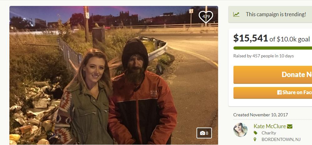 Kate McClure with Johnny Bobbitt Jr. (PHOTO: GoFundMe)