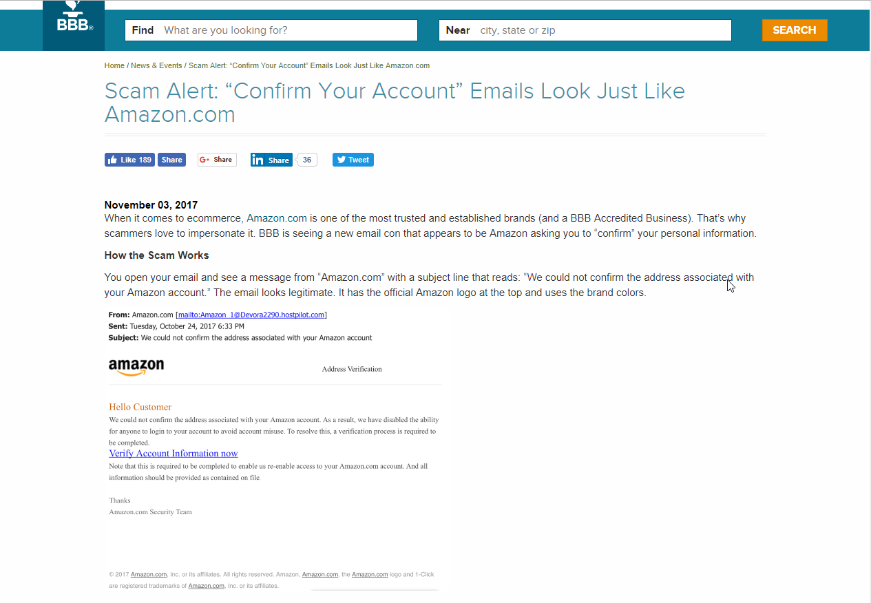 A screenshot of the BBB's alert about this email