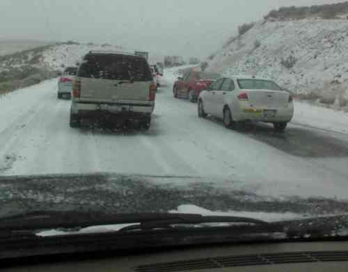 Photo from Hwy. 82 between Yakima and Ellensburg where traffic was at a stand still on Wednesday because of slide off and wrecks.