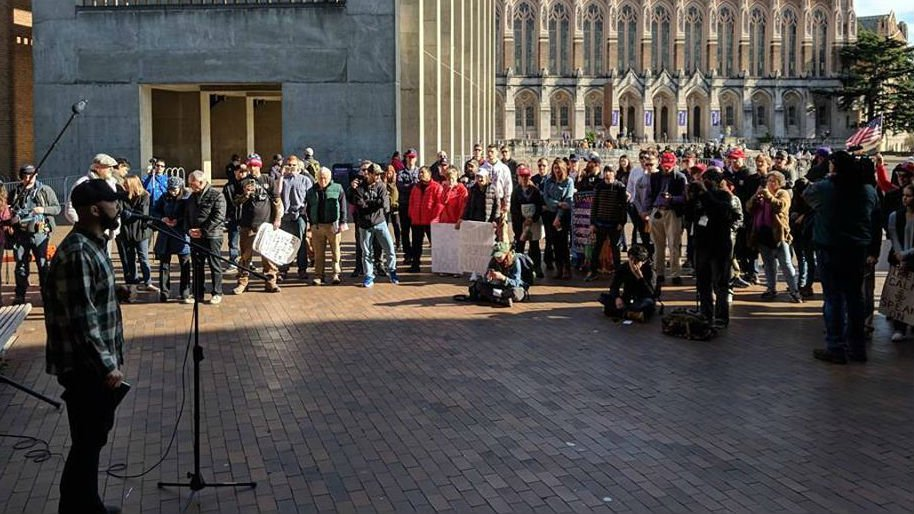 Joey Gibson speaking to the crowd of the UWCR Freedom Rally (Courtesy College Republicans at the University of Washington)