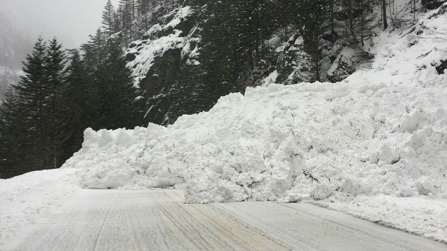 Courtesy WSDOT: picture of another avalanche along SR 20.