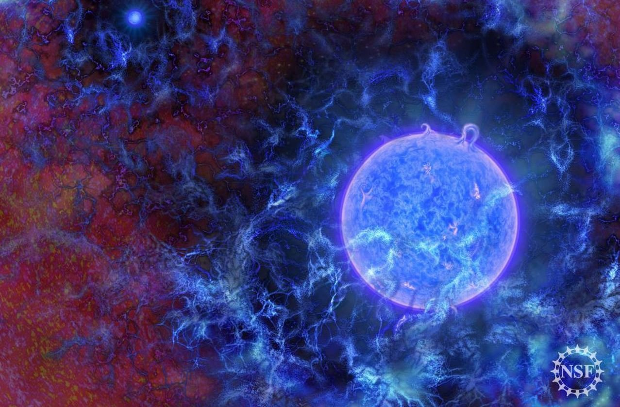 An artist's illustration of what the first stars in the universe may have looked like. Credit: N.R. Fuller, National Science Foundation