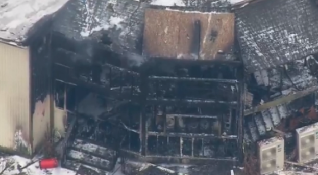 Aerials of mosque fire on March 21, 2018