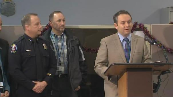 Spokane Mayor David Condon named Scott Stevens the city's Interim Police Chief at a news conference on Tuesday (Photo: KHQ)