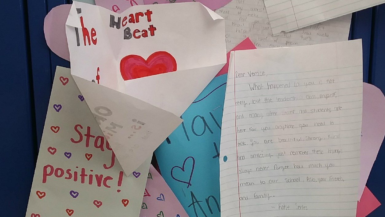 Some of the positive notes of support left on her locker