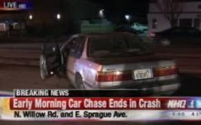Police chase ends in crash in spokane valley abc fox for Department of motor vehicles spokane valley