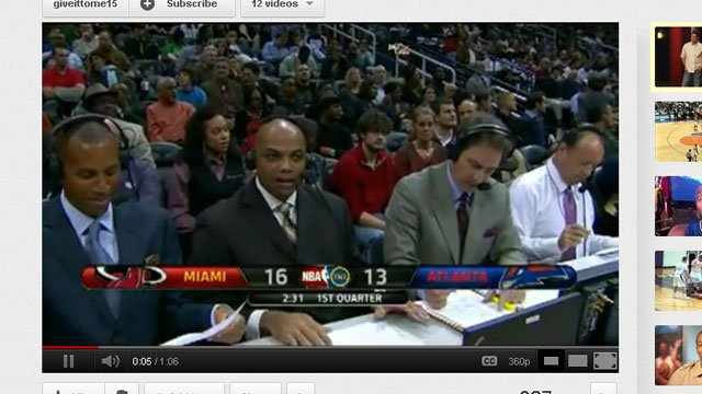 A YouTube clip shows Charles Barkley talking to his fellow commentators when he thought he was off the air (Photo: YouTube)