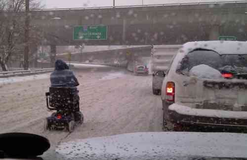 """This photo was sent in from KHQ friend Deborah Firkins: """"I guess some people get around no matter what the weather is. I'm sure you all recognize this interchange. Maybe he was on his way to the hospital."""""""