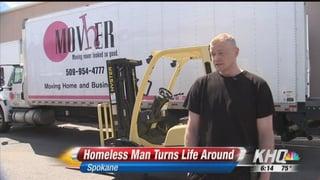02:16; Spokane man who was homeless gets a second chance