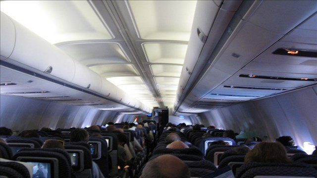 Stock image of inside a plane