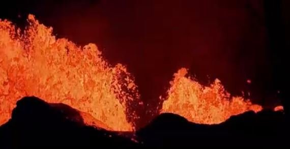 Hawaii volcano produces blue flames from methane