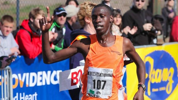 © Kenyan Simon Ndirangu used a final sprint to the finish line to win the Men's Elite Race in the 2011 Lilac Bloomsday Run.
