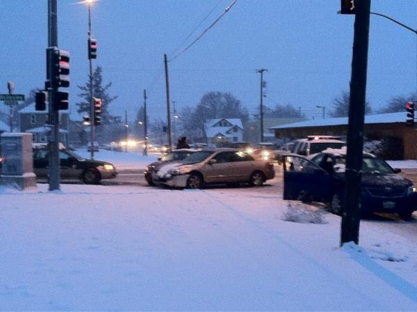 Photo taken by KHQ's Blake Jensen of a 3 vehicle crash at Haven and Wellesley