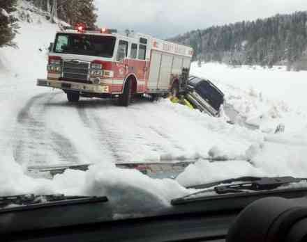 This photo from CDA was submitted to our KHQ.Com weather page showing a fire truck sliding off the road while trying to help a car that slid off! The viewer didn't give us a specific location.