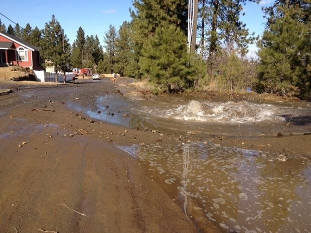 A broken water main creates a mess in the area of 16th and Cochran (Photo KHQ)