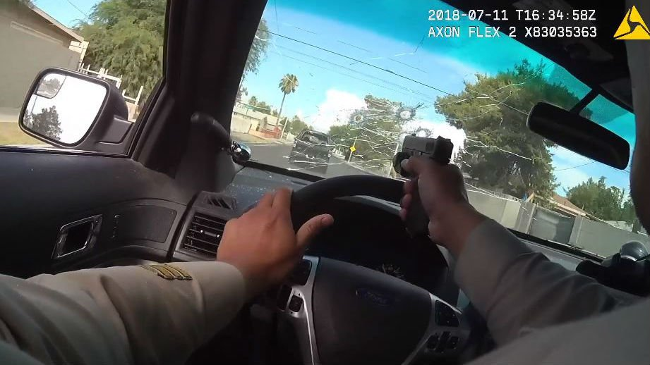 Caught On Camera: Officer Shoots Through Windshield During Chase Of Murder Suspects