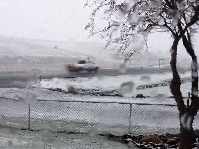 Photo sent to us from KHQ friend Sue Schultheis of snowy Hwy. 195 north of Colton