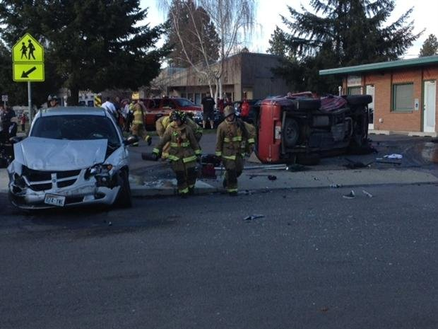 © A Two Car Rollover Collision Blocked Traffic Saturday Afternoon At Rowan And Wall. Both Drivers Are Ok. (Photo KHQ)