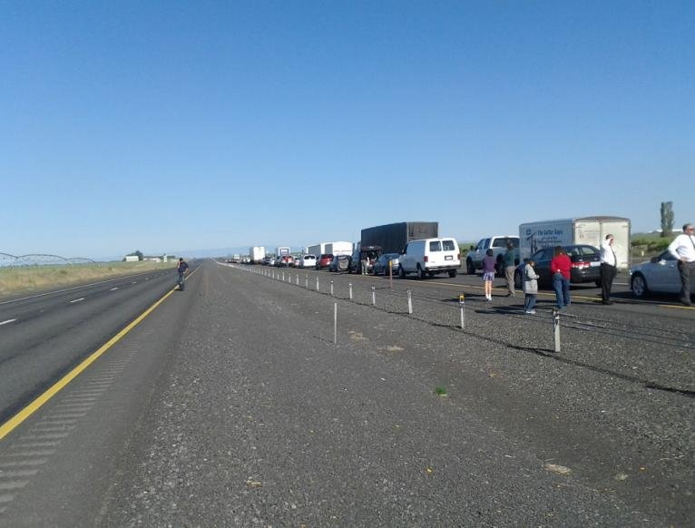 Photo of backed up traffic in the Moses Lake area, photo sent to pix@khq.com from a nameless KHQ viewer
