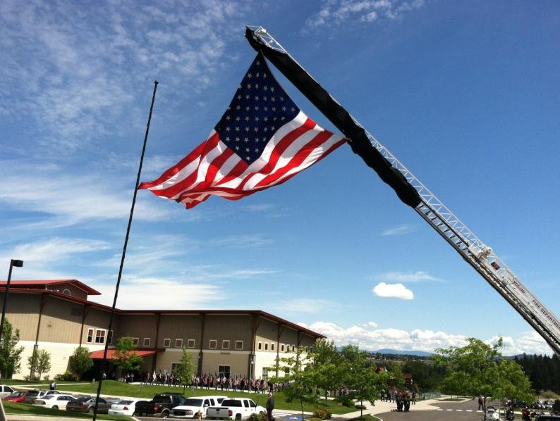 Flag being flown outside of Life Center