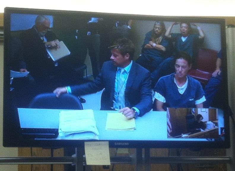 Tina Jones, far right, appears in court