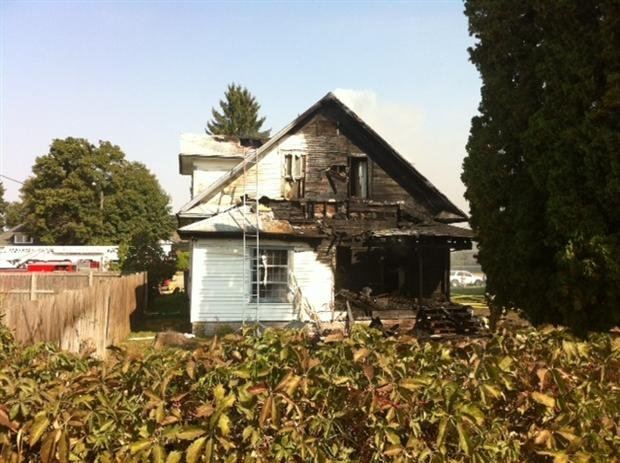  (PHOTO KHQ) Fire heavily damaged a home in Hillyard Saturday morning