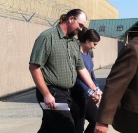 Michelle and Robert Staats leaving the courthouse on Tuesday