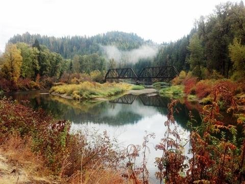From KHQ friend BtrFlyDogLvr: Old railroad bridge on St Joe River about 15-16 miles up from St Maries, ID.
