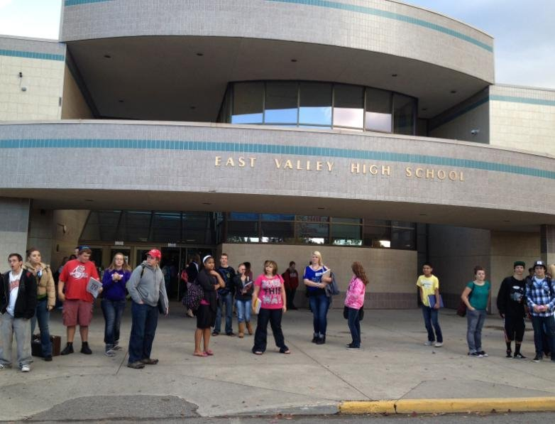 © Photo taken on Tuesday morning as East Valley High student wait to go home