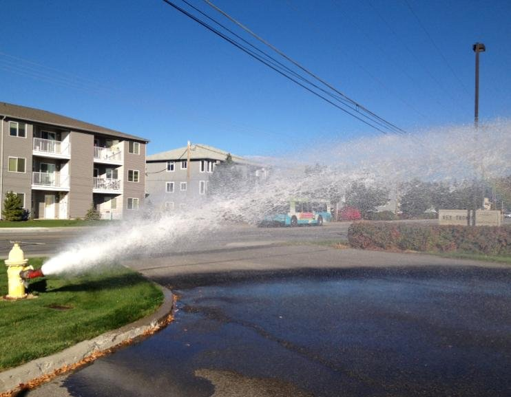 © Here's a shot of Trentwood Irrigation flushing out the system