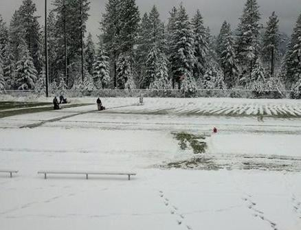 Terri Menti from Spirit Lake: Snowblowing Timberlake's Football Field before the big game against Fruitland on Saturday!