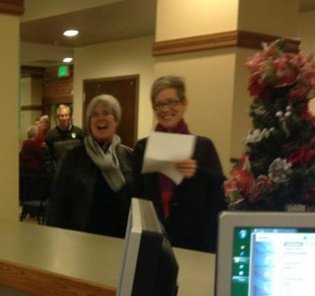 "Here is the first couple getting their marriage license at the Spokane County Courthouse.....and look who it is.... Margaret Witt and her partner. You'll remember Witt was suspended in 2004 under the ""don't ask, don't tell."""
