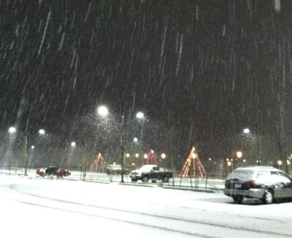 Facebook friend NancyKay Smith: Nice big flakes that aren't afraid to stick out in Worley!
