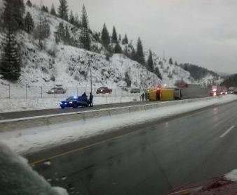Facebook Friend Kelly Walden-Marang: I-90 Westbound near Kellogg. Semi completely on its side.