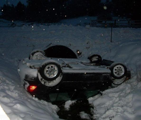 Facebook friend Carol Hall-Evans: Too much snow in Colfax and this car wrecked into our barnyard. The guy was fine but my new fence took it bad!
