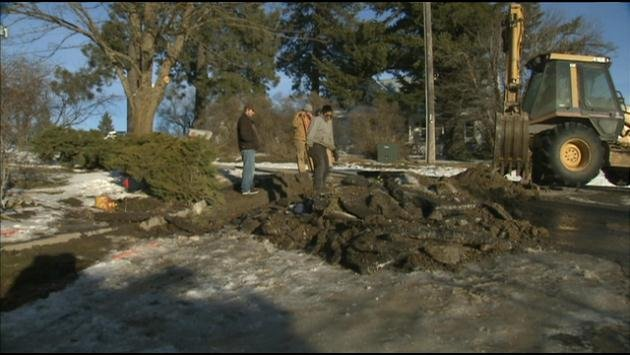 Crews work to find a leaky pipe causing water problems in the small town of Rockford