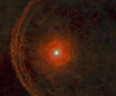 SPACE.com/ESA / Herschel / PACS / L. Decin et al - In about 5,000 years, Betelgeuse is going to run straight into a line of dust (left).