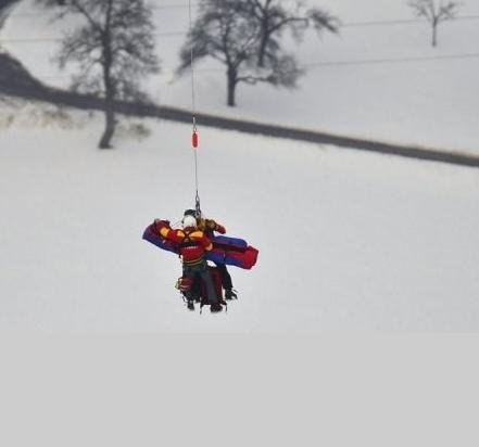 Lindsey Vonn is airlifted away after a fall in the World Championships women's Super-G in Schladming
